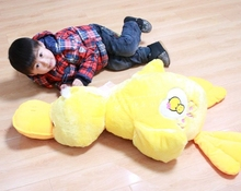 big yellow duck plush toy lovely lying duck doll pillow birthday gift about 100cm