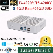 2015 Fanless Mini PC Windows 10 4GB Ram 64GB SSD Intel Nuc Core i3 5005U i3 4005U HTPC Kodi Linux Computador 300M Wifi HDMI+VGA