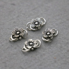 1PCS Hot wholesale Snap 925Silver-plate Flowers Fittings for Accessory Metal DIY Button Jewelry Making Design Bracelet Necklace