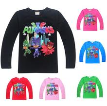 2017 New design 5 pcs/lot PJMASKS PJ MASKS boys girls long sleeve t shirt boy girl t-shirt tee tees kids childrens tops