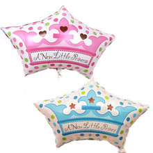 Baby Shower Princess Crown Balloons Baby Boy Girl Happy Birthday Decoration Air Balls 1st birthday girl bunch balloons 1pc(China)