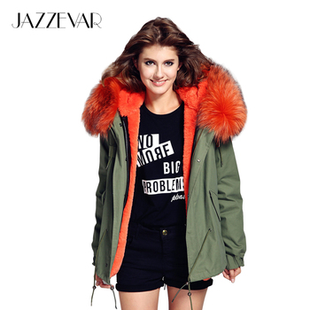 Jazzevar mujer verde del ejército grande de piel de mapache cuello del abrigo con capucha parkas outwear 2 en 1 desmontable forro chaqueta de invierno marca estilo