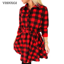 VISNXGI 2017 High Quality Explosions Leisure Vintage Dresses Autumn Fall Women Plaid Check Print Spring Casual Shirt Dress Mini