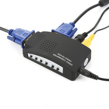 Professional AV S-Video RCA VGA Composite Video to VGA Converter Adapter for HDTV DVD Monitor Black  Switch Box