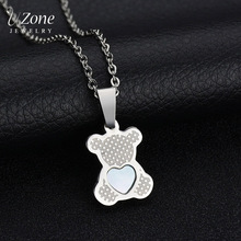 Cartoon Animal Necklace Bears Giraffe Butterfly Shell Gold Color Stainless Steel Necklace For Children Gift