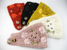 Sisters Knitted Crochet Wool Headband with Flower Knit Hair Band Headband for Women Winter Ear Warmer Women's Hair Accessories