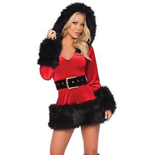 Ladies White Plush Belt Costume Sexy Mrs Miss Hooded Christmas Santa Fancy Dress Costume Outfit W208522B