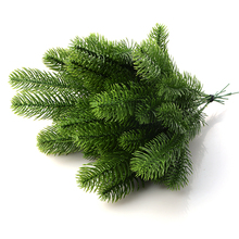 10Pcs Artificial Flower Fake Green Plants Pine Branches Christmas Tree For New Years Christmas Party Xmas Tree DIY Decorations(China)