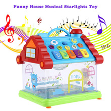 Funny Musical House Piano Toy Electric Glow Piano Intelligent Early Educational Toys Learning Machine Kids Brithday Xmas Gifts(China)