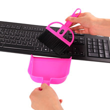 New Design Plastic Desk Cleaner Set Dust Pan Broom Brush Keyboard Computer Cleaning Set(China)