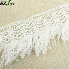 Microfiber Embroidery White Macrame Lace Fabric,DIY Manual Sewing Supplies Floral Lace Trim Crafts Wholesale LQW1634(China)
