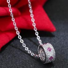 Xiacaier Cubic Zirconia Pendant Necklaces Copper Flower Round Silver Color Simulated Diamond Necklace For Women 2017 New Jewelry