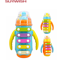 Surwish Children's Knock Piano Music Initiation Toy Bottle With Bell Baby Early Education Instrument - Random Color(China)