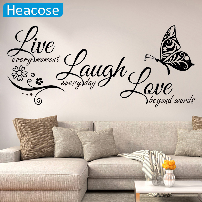 Live Laugh Love Butterfly Flower Wall Art Sticker Modern Wall Decals Quotes Vinyls Stickers Wall Stickers Home Decor Living Room(China)
