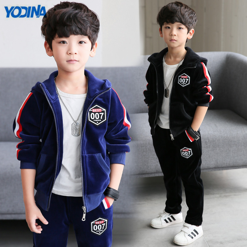 YODINA Kids Clothing Boys Gold Velvet Clothing Set Autumn Winter School Children Thicken Sport Suit Tracksuit Sweatshirt+Pants<br>