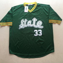 The Men Cheap Throwback baseball Jersey Magic Earvin Johnson #33 College Jerseys Retro jerseys Green Stitched free shipping(China)