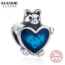 ELESHE Authentic 925 Sterling Silver Charm Blue Enamel Heart Teddy Bear Beads Fit Original Pandora Charm Bracelets DIY Jewelry