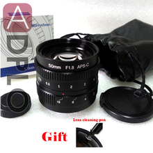 50mm F1.8 Focus infinity Television TV Lens /CCTV Lens f/1.8 Manual Work For C Mount Camera + Lens Cap  with cleaning Pen