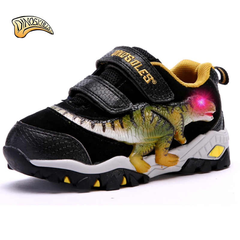 Dinoskulls 2018 Children led shoes Spring Autumn breathable 3D Dinosaur sneakers boys light up shoes  size 27-34# <br>