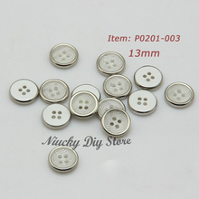 The newest 4 hole silver edge resin shirt buttons custom shirt button sewing accessoires wholesale(China)