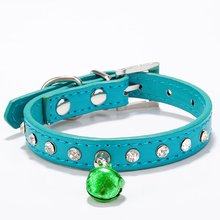 7 colors Manufacturer sale bell collar PU leather collar small cat diamond necklace dog breed adjustable nice Pet accessories