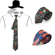 "Brand new 2 inch wide Fashion unique ""violin guitar musical instrument"" necktie Polyester Woven Classic Men`s Party weeding tie"