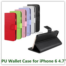 1PCS Fashion 6 Color PU Leather Stand Pouch Folding Wallet Money Pouch Skin Cover Case for iPhone 6 6s with ID Card Holder Free(China)