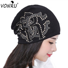 Hot Sale Rhinestone Letter Beanies Fall Winter Brand New Warm Womens Hats Fashion Baggy Gorros Turban Hip Hop Slouch Caps
