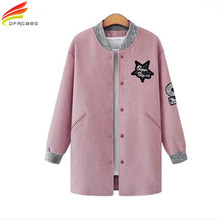 Plus Size Women Clothing 2017 Spring Autumn New Arrival Womens Jackets And Coats Gray Pink Ukraine Style Long Coat Woman Sale(China)