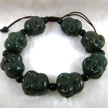 Send With Certificate HeTian Bracelet Grade A Stone Buddha Head Bracelet Men Jewelry