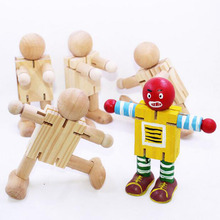 Kids Handmade Painting Draw Tools Educational Toys Children DIY Wooden Assembling Transformation Robot Blocks Christmas Gifts(China)