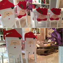 1pcs Xmas Christmas Dinner Chair Back Cover Mr/Mrs Santa Claus Hat Table Decoration PQMeh