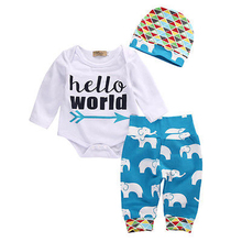 Hi Hi Baby Store Newborn Baby Girl Boy Romper Leggings Hat 3pcs Cotton Coming Home Outfits Set Costume
