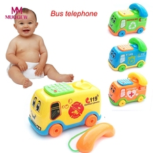 2017 Baby Toys Music Cartoon Bus Phone Educational Developmental Toy Kids Gift New Model Toy Vehicle Car Toys for Children Kids(China)
