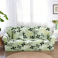 Light Green Leaves Couch Sofa Covers For Living Room Multi-Slip Corner Sofa Slipcovers Universal Stretch Cover Elastic Slipcover