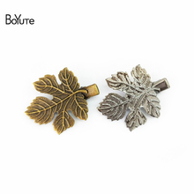 BoYuTe 10Pcs 32MM Filigree Leaf Hair Clip Vintage Style 6 Colors Plated Women Hairgrip Hair Accessories(China)