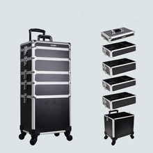 Aluminum Trolley beauty Nail box with trolley Makeup box with Lights and mirror 5 in 1 cosmetic case