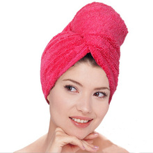 Hair towel (2 pieces/lot) quickly dry Microfiber Thicken Super water absorption Household Women Shower cap 5colors 61*22cm(China)