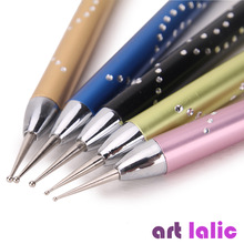 Artlalic Luxury 5 Pcs 2-Way Nail Art Dotting Pens Marbleizing Painting Dot Rhinestones Tool Aluminum Stainless Steel