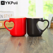Hot Cold Heat Sensitive Mug Cup Color Changing Ceramic Cup Coffee Milk Tea Mug With Heart Shaped Hand Grip Lover Valentine Gift