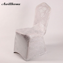 shipping free 100pcs silver bronzing spandex chair coverwedding chair covers fancy rose chair cover(China)