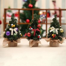 Mini Small Artificial Christmas Tree Decoration Holiday Pine Xmas Home Decor Supplies New Year Festival Party Ornament 20CM