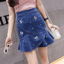 Buy Summer Small Fresh Floral Print Denim Skirt 2018 Fashion New High Waist Mini Skirts Womens Ruffles Package Hip Short Skirt for $16.99 in AliExpress store