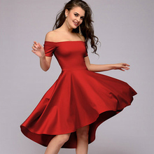 Buy 2018 Sexy Shoulder Summer Dress Women's Asymmetrical Hem Elegant Tuxedo Solid Slash Neck Short Sleeves Party Club Dress for $5.49 in AliExpress store
