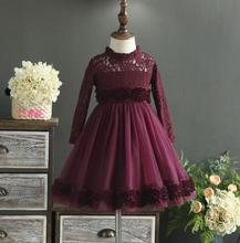 Girl Christmas Dress 2017 New Girl Lace Flowers Dress Fashion Elegant Kids Costume Korea Autumn Childrens Belle Clothes(China)