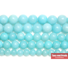 "Free Shipping Natural Stone Aqua Amazonite Round Loose Beads 15"" Strand 6 8 10 MM Pick Size For Jewelry Making No.SAB15"