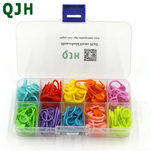 QJH Brand 120pcs/box High Quality Mix Colors Mini Case Knitting Accessories Crochet Locking Stitch Plastic Markers rx111(China)