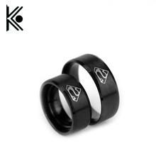 Hot sale hero Superman Men's Rings Stainless Steel Jewelry 3 colors available Higher Grade High Polish Men Ring Size 7-12