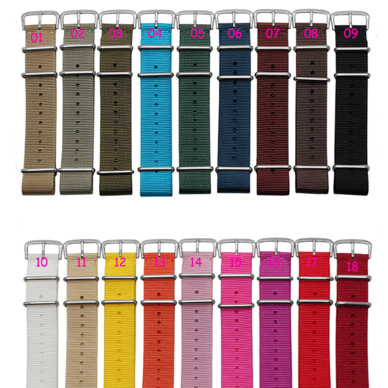 Silver buckle 1PCS High quality 18MM 20MM 22mm 24mm Nylon Watch band NATO straps waterproof watch strap 18 colors available<br><br>Aliexpress