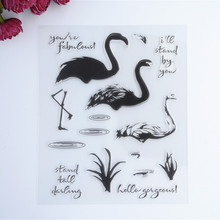 2016 New Scrapbook DIY Photo Album Cards Transparent Acrylic Silicone Rubber Clear Stamps color SWAN